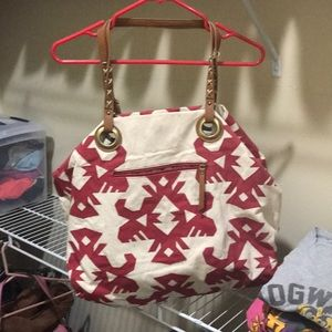 Lucky brand oversized red/beige Aztec canvas purse